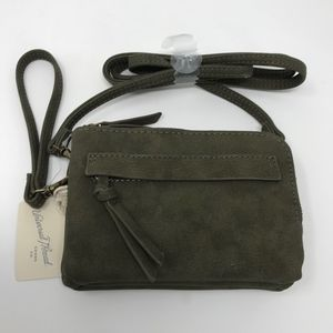 Olive Green Faux Leather Crossbody Mini Bag Wrist